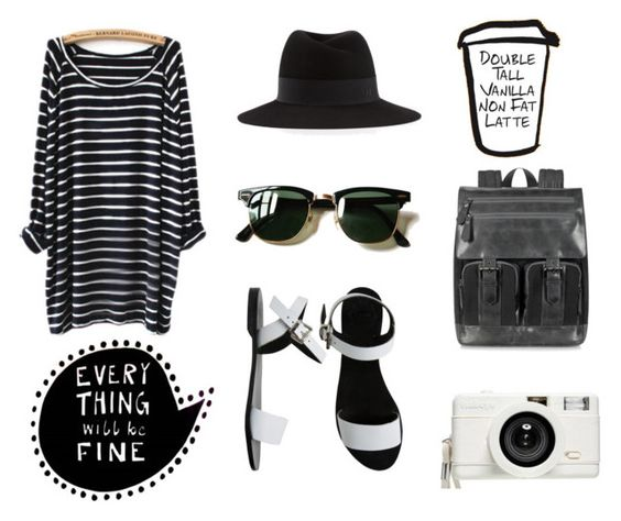 Everything will... by alex-hllnz on Polyvore featuring moda, Sol Sana, Giorgio Fedon 1919, Maison Michel, Lomography and Ray-Ban