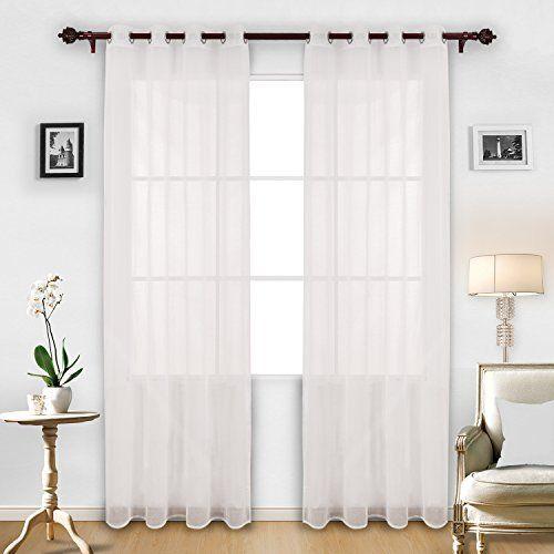 Deconovo White Sheer Curtains 95 Grommet Linen Look White