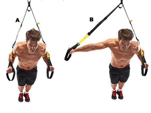 Clock press Lean forwards holding the straps (A). Hold your left arm to your chest and extend the right (B). Return to the start and repeat with your other arm. The left-right switches improve your muscle reaction times for better agility.