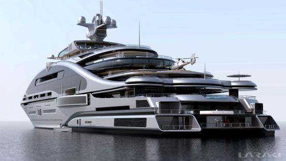 """Gigayacht Konzept """"Prelude"""" (Laraki Yacht Design) My Goodness how Horrible!!looks like concrete on water"""