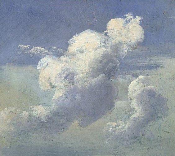 étude de nuage  huile sur toile 17ème siècle.
