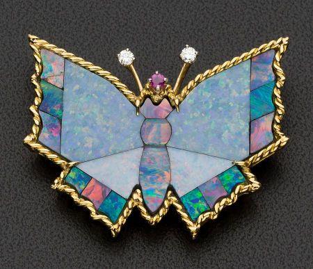 Large Gold, Opal Butterfly Brooch.