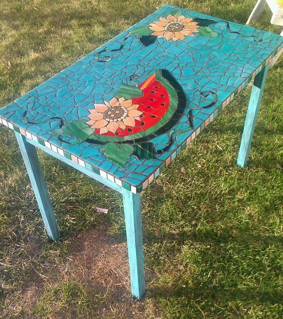 Old Tables Mosaics And Patio On Pinterest