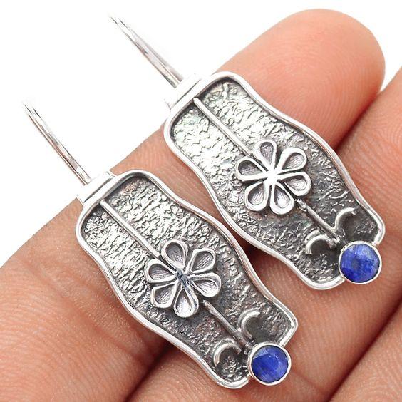 Sapphire 925 Sterling Silver Earrings Jewelry SE102238 | eBay
