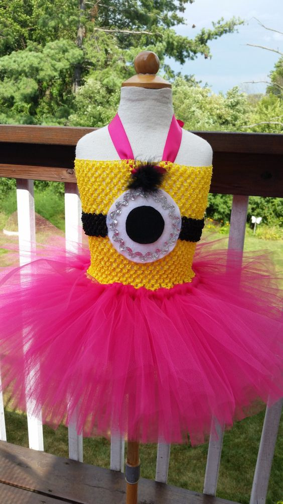 Minion Inspired Tutu Dress - Halloween Costume - Toddler Sizes - Hot Pink and yellow by MonkeyPantsPartyHats on Etsy