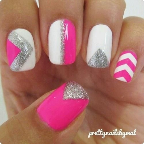Just girly nails- pink white and silver sparkles