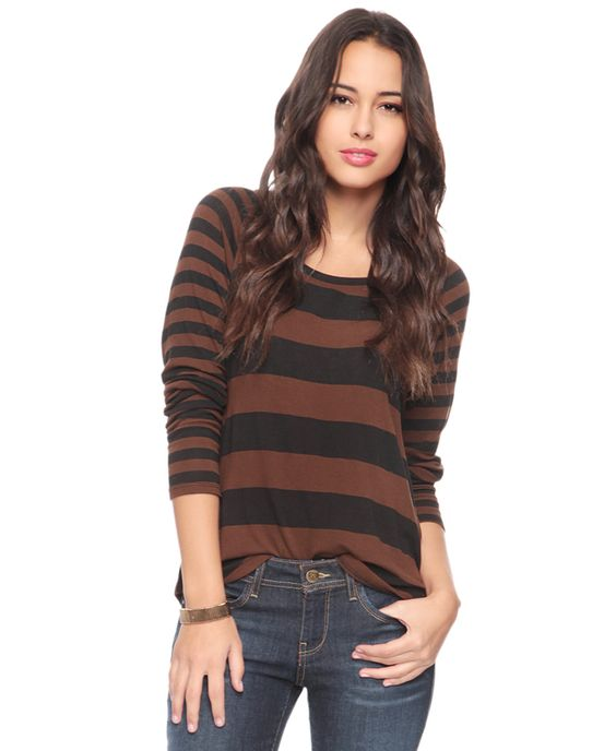 Contrast Striped Top | FOREVER21 - 2087532548