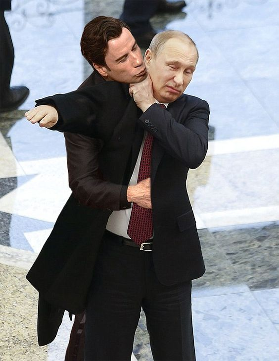 Get away from me, John! Russian President Vladimir Putin fends off Travolta in this hilari...