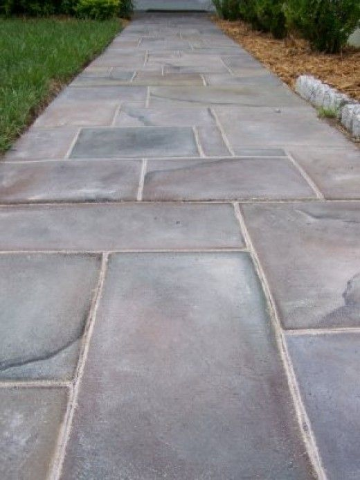 Slate walkway walkways and slate on pinterest Exterior concrete floor coatings