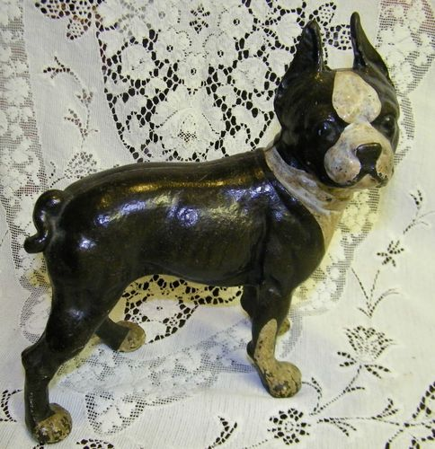 Cast Iron Painted Bulldog Or Bull Terrier Door Stop Statue By Hubley From  Atomic-candy On Ruby Lane | Antique Door Stops | Pinterest - Boston Terrier Doorstop &