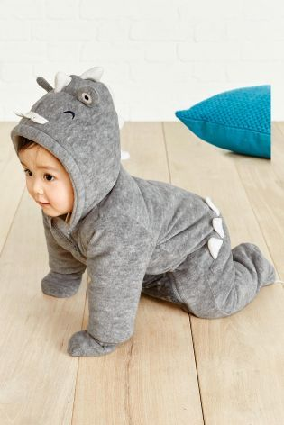 Got a little monster crawling around? Then he NEEDS this dinosaur all-in-one suit for autumn.