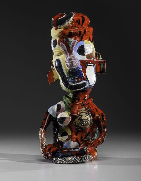Michael Lucero, Pre-Colombus Female, 1991, earthenware, 16.5 x 7.5 x 6 inches. Estimate: $6,000 - $8,000.