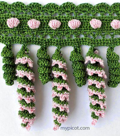Spiral & Bobble Crochet Trim: free #crochet #pattern