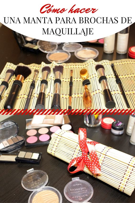 Cómo hacer una manta para brochas de maquillaje - Pinterest