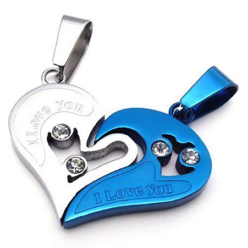 konov bijoux 2 pendentif d amiti collier amour pour homme et femme 2 cha ne 45cm et 55cm. Black Bedroom Furniture Sets. Home Design Ideas