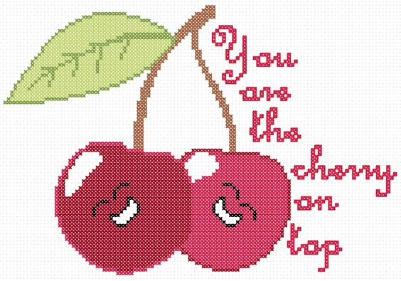 Cherry on Top Free Cross Stitch Chart: Free Valentine, Free Pattern, Counted Cross Stitch, Flower Fruit Crossstitch, Cross Stitch Free, Cross Stitch Charts, Cross Stitch Embroidery, Cross Stitch Valentines