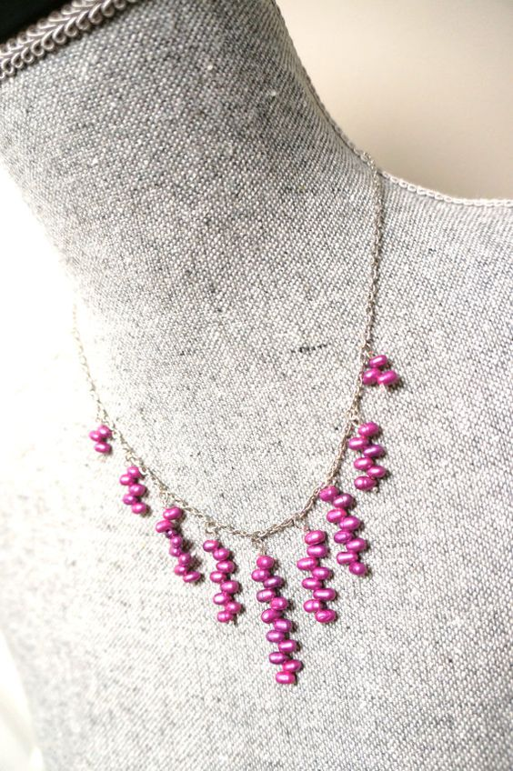 Hot Pink Fushia Freshwater Pearl Necklace Made in by LinksLocks, $20.00