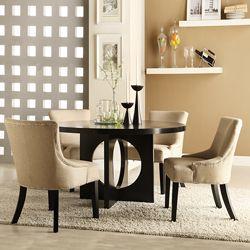 Westmont 5-piece Beige Linen 54-inch Round Dining Set from Overstock