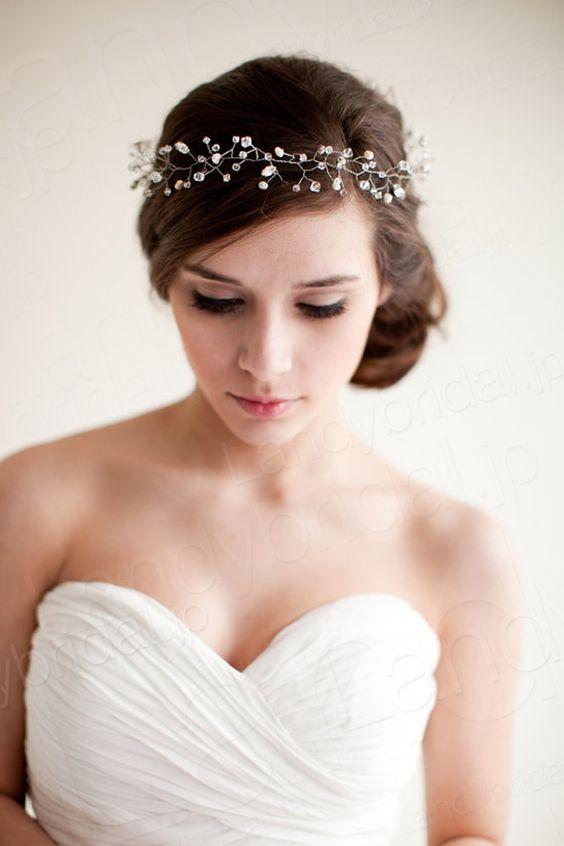 髪飾り アクセサリー クリスタル パール シンプルなデザイン ウェデイング小物 花嫁 SAH034                              …