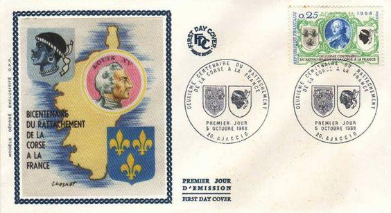Timbre : 1968 DEUXIÈME CENTENAIRE DU RATTACHEMENT DE LA CORSE A LA FRANCE | WikiTimbres