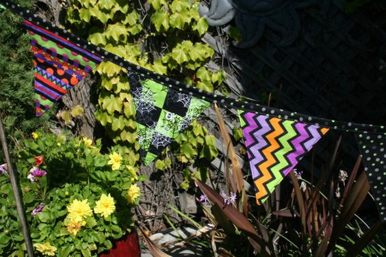 7  Halloween fabric bunting BLACK CATS Spiders by MadeByKarenLee, $18.00