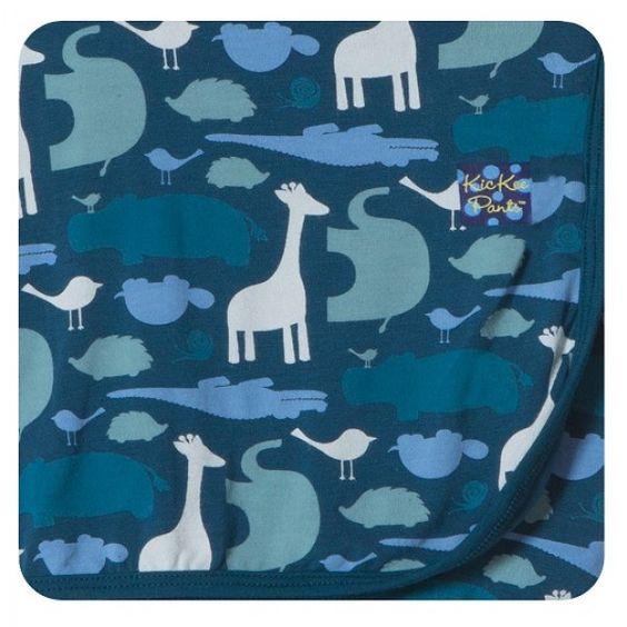 Kickee Pants Swaddle Blanket in Peacock Multi Animal