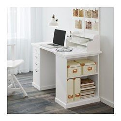 IKEA - KLIMPEN, Desk with storage, white, , The add-on unit can be placed on the table top or hung on a wall.Slot for a label on each drawer so you can easily keep things organized and find what you are looking for.Drawer stops prevent the drawers from being pulled out too far.You can customize your storage with the adjustable shelf.