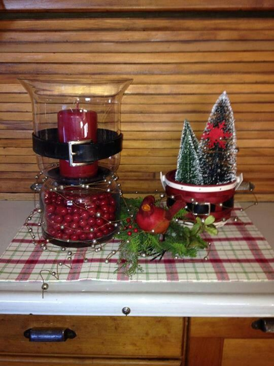 Christmas Centerpiece Baskets : Santa belly love my longaberger baskets