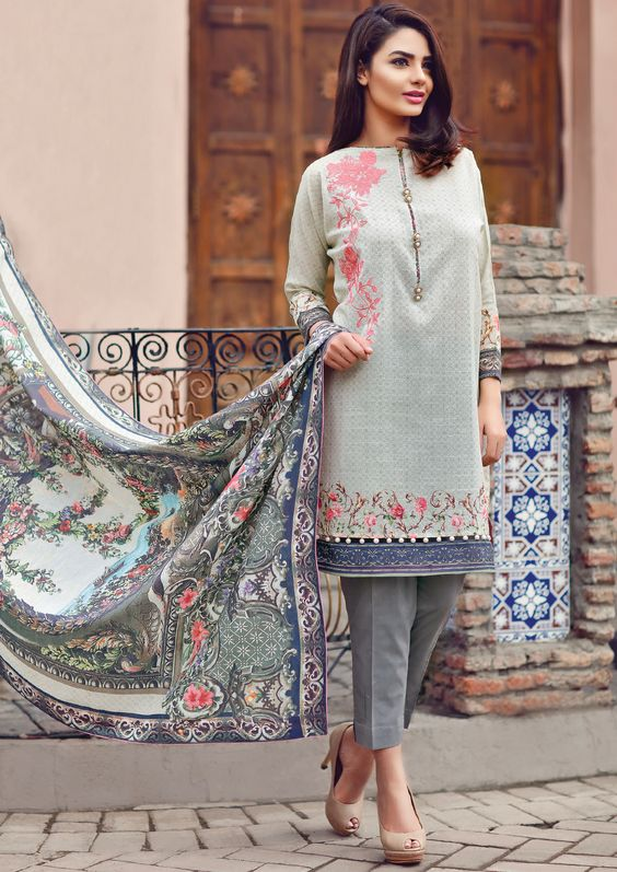 Pakistani Kurta Designs For Ladies White embroidered Winter Kurta