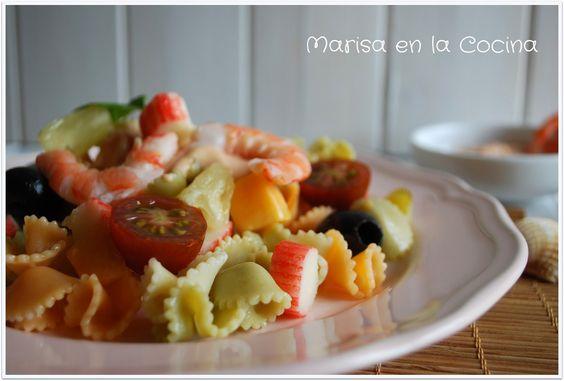 Marisa en la Cocina: Ensalada de Pasta y Marisco con Salsa Rosa