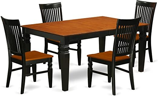 5 Pc Kitchen Table Set With A Dining Table And 4 Wood Seat Dining Chairs In Black And Cherry Wood Kitchen Chair Kitchen Table Settings Kitchen Chairs