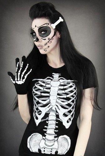 T-Shirts mit Print - Skeleton T-Shirt,Gothic Restyle,Eröffnungsangebot! - ein Designerstück von SchwarzerStein bei DaWanda