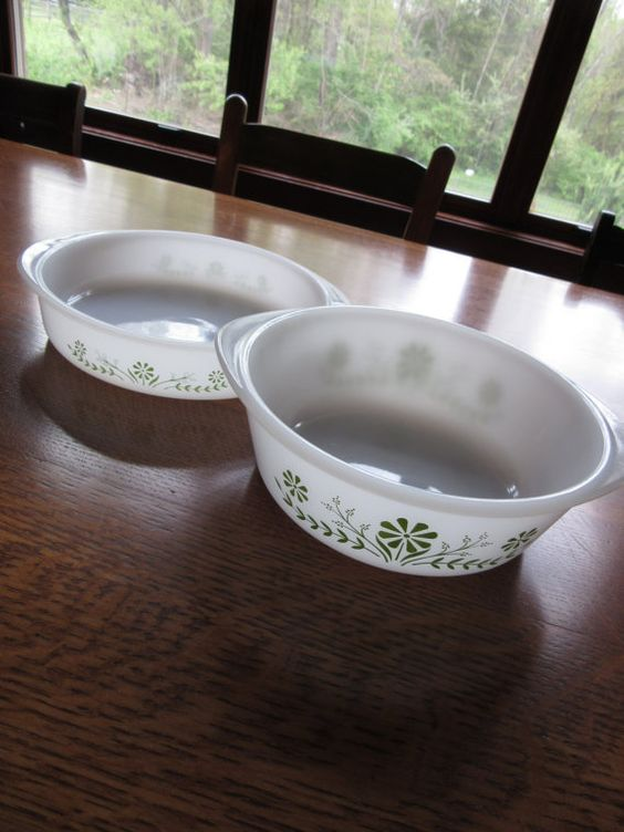 Pair of Vintage Glasbake Green Daisy Bowls by BarefootAndCivil