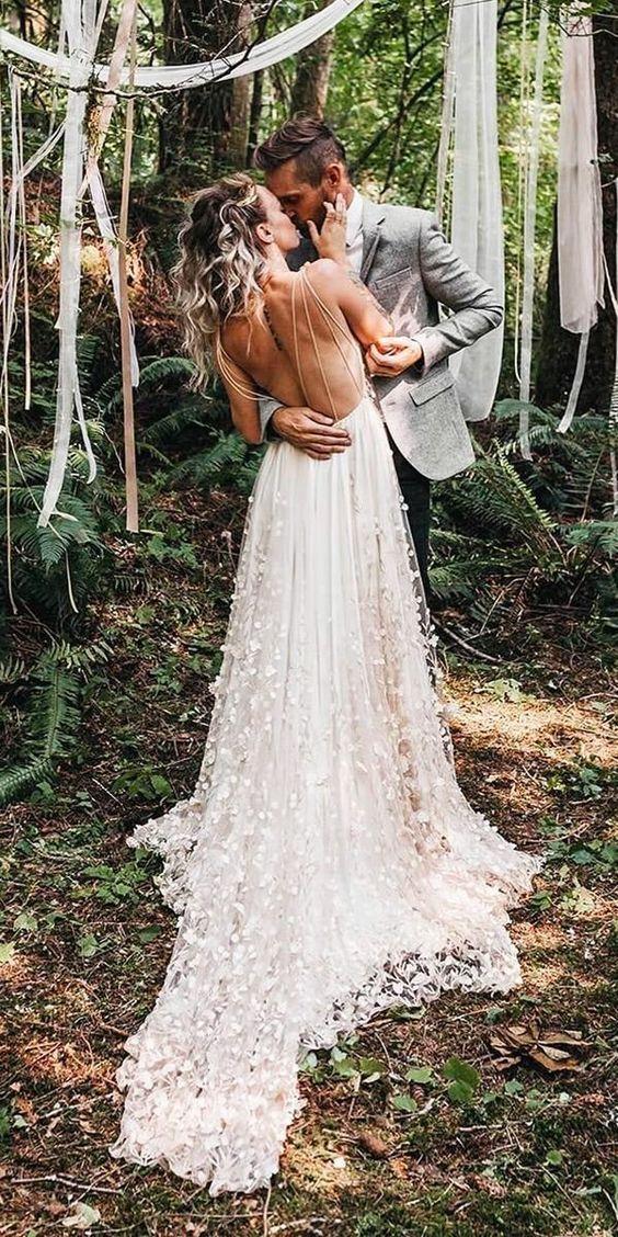 Simple A Line Chiffon Wedding Dresses Bohemian Beach Bridal Gowns Wedding Dresses Beach Bridal Gown Wedding Dresses Unique