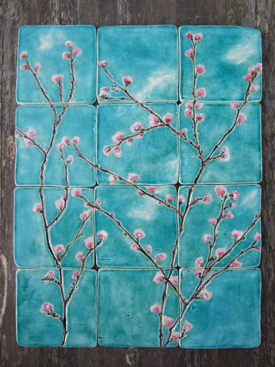 CIJ 20%12 cherry blossom ceramic tiles beautifully painted pink blossoms in turquoise sky, dreamy white clouds, kitchen, bathroom. £180.00, via Etsy.