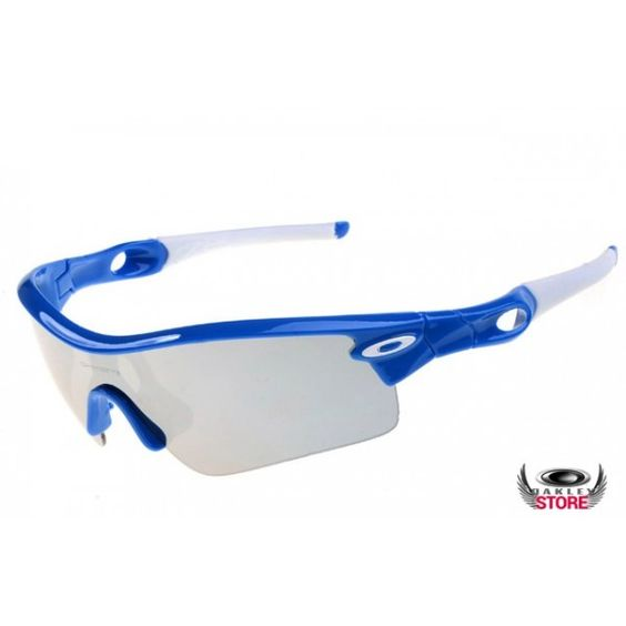 blue and silver oakley sunglasses  oakley radar path sunglasses with polished blue frame and silver iridium lens