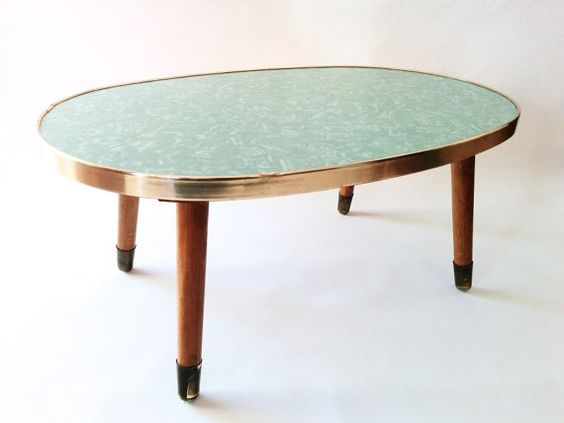 Vintage Coffee Table, German Plant Stool from 1950s. Mid Century Stylish Table, Green Marble Pattern