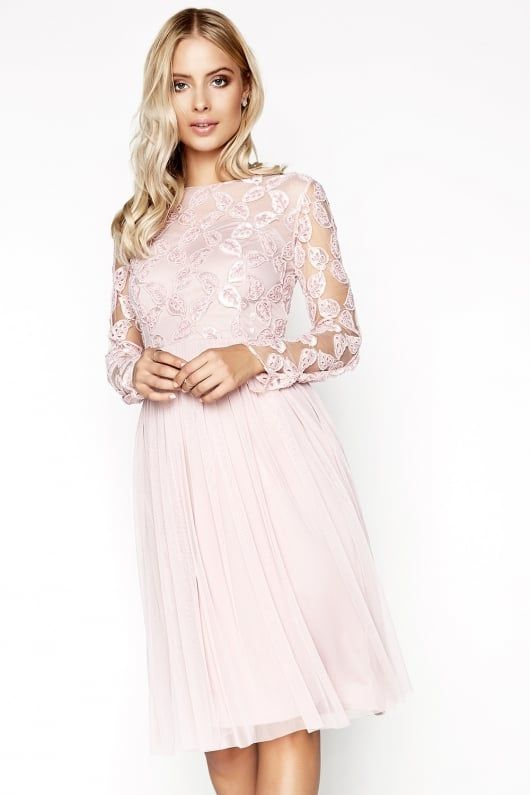 size 7 so cheap buy good Little Mistress Imogen Embroidered Midi Dress   Pink midi dress ...