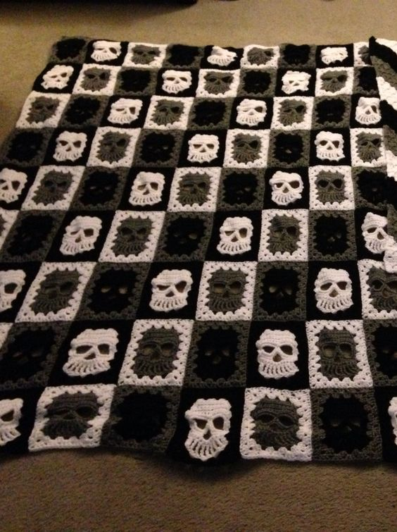 Crochet Skull blanket for my hubby