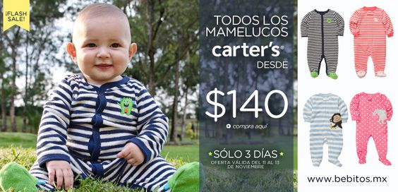 ¡Mamelucos Carter's desde $140! aquí: http://www.bebitos.mx/t/moda/ropa/pijamas-y-mamelucos?utm_source=pinterest&utm_medium=social&utm_content=flash+sale,+mamelucos,&utm_campaign=20131112,+flash+sale,+mamelucos,