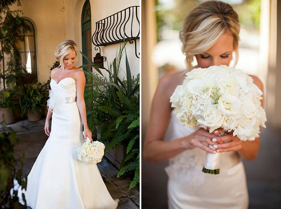 all white bridal bouquet | Images by Rich Lander Chard Photography