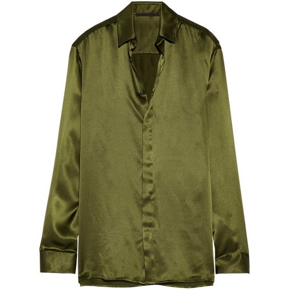 Haider Ackermann Silk-satin shirt ($835) ❤ liked on Polyvore featuring tops, drape shirt, green top, green shirt, haider ackermann and draped tops