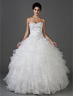 balón vestido de novia sin tirantes piso de longitud tafetán... – EUR € 233.88