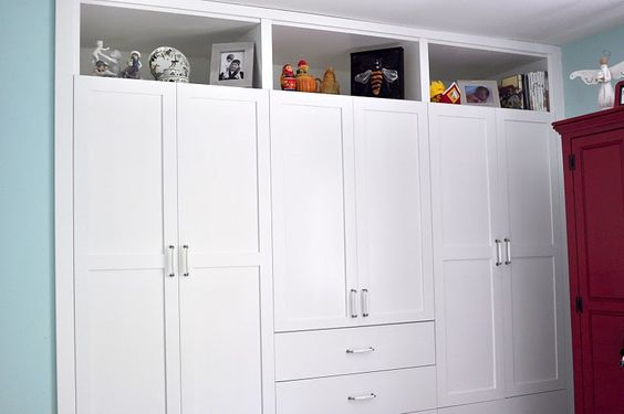 A regular closet replaced with custom built-ins.  So clever!