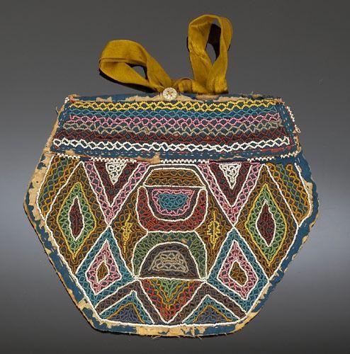 Wabanaki? (Maine), Bag, beads/silk/cotton, c. 1860.