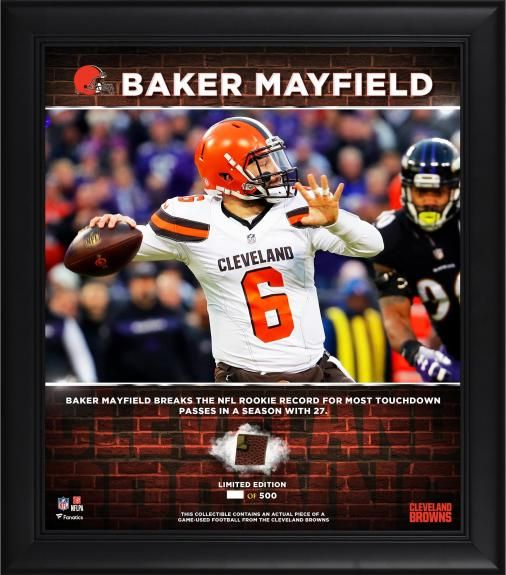 Baker Mayfield Cleveland Browns Framed 15 X 17 Rookie Touchdown Pass Record With A Piece Of Game Us Baker Mayfield Cleveland Browns Cleveland Browns Football