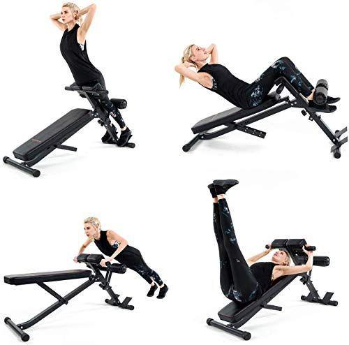 Best Seller Vanswe Adjustable Ab Bench Multi Workout Hyper Back Extension Abdominal Sit Up Be Bench Workout Bench Ab Workout Weight Benches