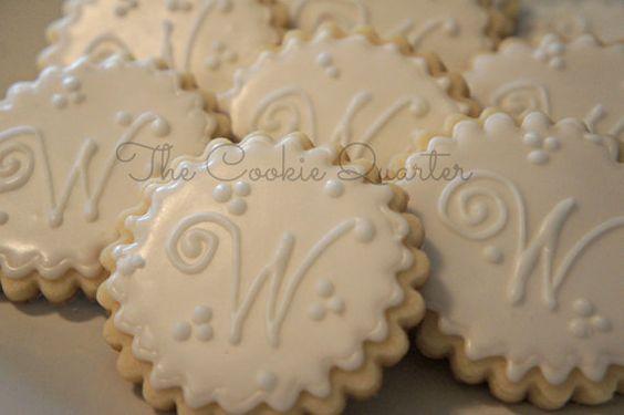 Monogram Letter Wedding Cookies 1 Dozen Decorated Sugar Cookies Cookie Favors Wedding Bridal
