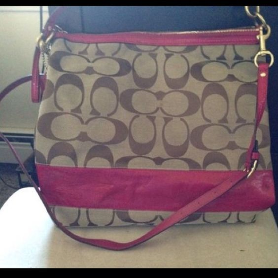 Coach Cross Body Tan and pink cross body. Used 4x Coach Bags Crossbody Bags