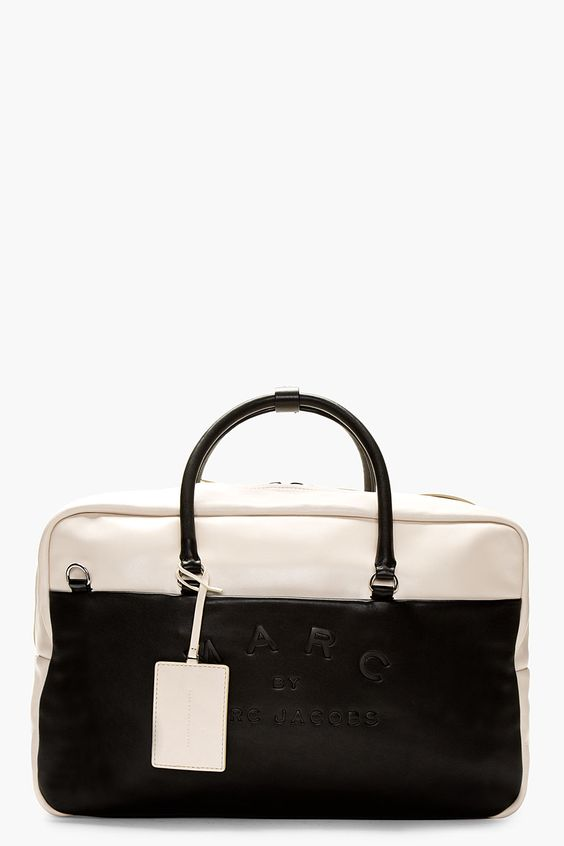 MARC BY MARC JACOBS Black & Blush Leather Duffle Bag. Great contrast, the leather looks sumptuous.